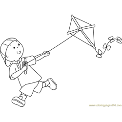 Caillou with Kite Free Coloring Page for Kids