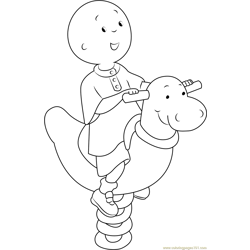 Happy Caillou Free Coloring Page for Kids
