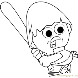 Calimero Playing Baseball Free Coloring Page for Kids
