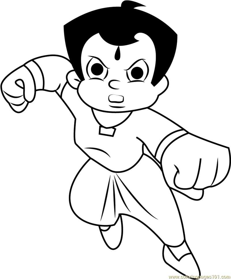 Angry chhota bheem coloring page
