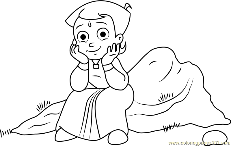 Chhota Bheem Sitting On Rock Coloring Page For Kids Free Chota Bheem Printable Coloring Pages Online For Kids Coloringpages101 Com Coloring Pages For Kids