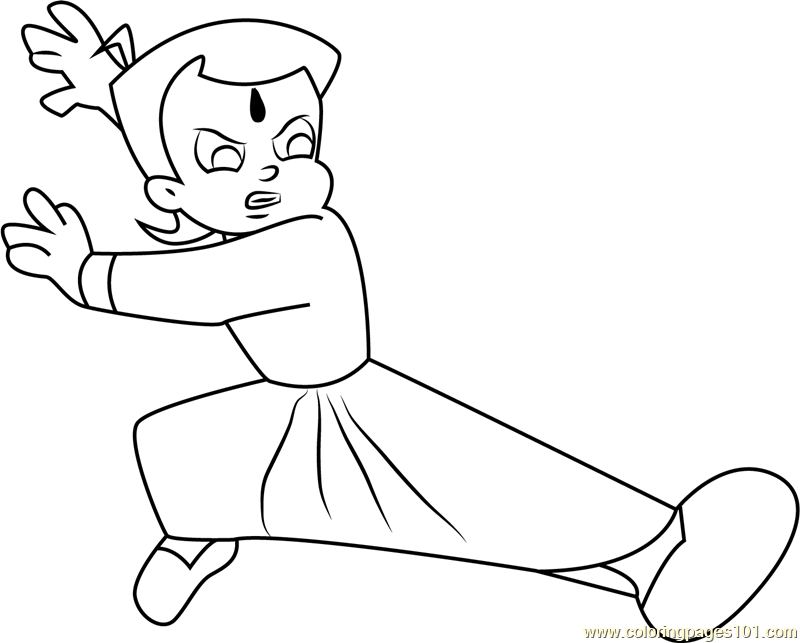 Fighting chhota bheem coloring page