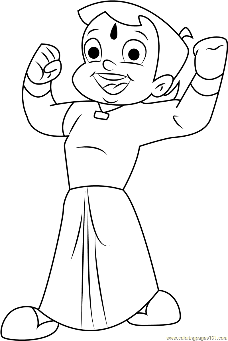 Online Coloring Chota Bheem : Happy chota bheem coloring page free