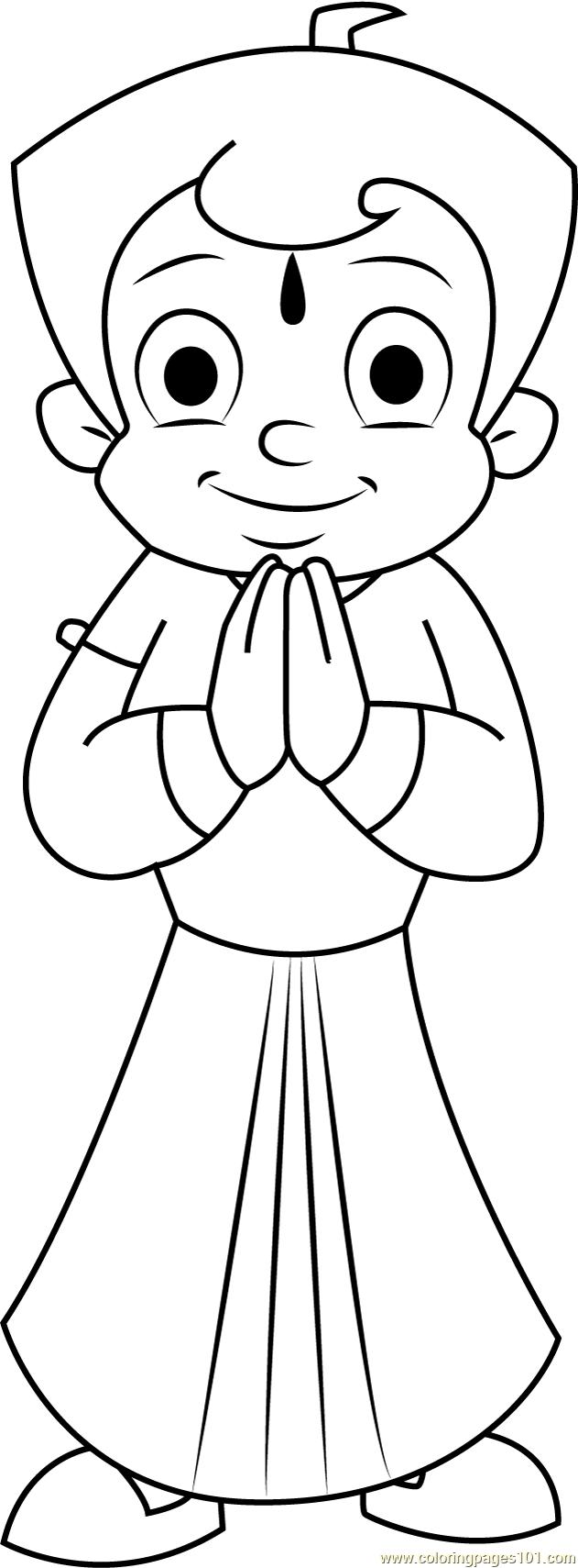 Online Coloring Chota Bheem : Namaste coloring page free chota bheem pages