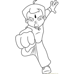 Chhota Bheem Power Punch Free Coloring Page for Kids