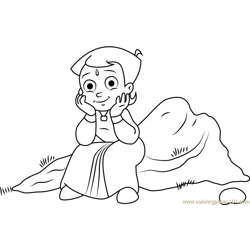 Chhota Bheem Sitting on Rock Free Coloring Page for Kids