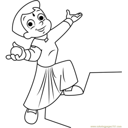 Chhota Bheem having Laddu Free Coloring Page for Kids