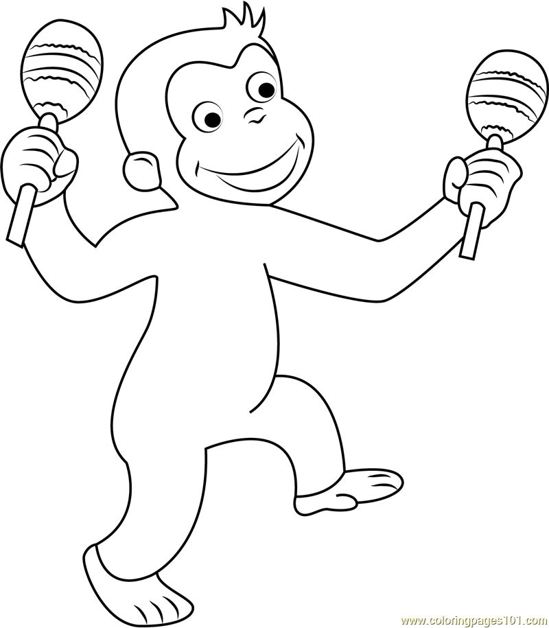 curious george coloring pages online - curious george dancing coloring page free curious george