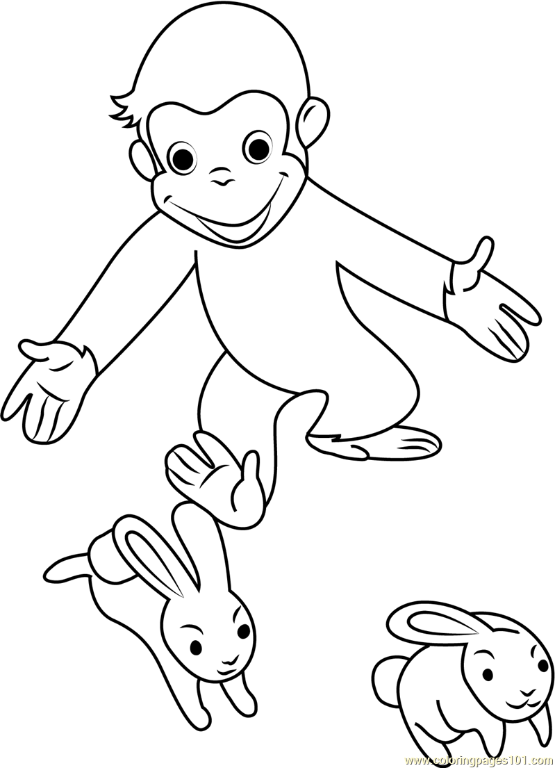 Curious George Playing with Rabbit Coloring Page - Free ...