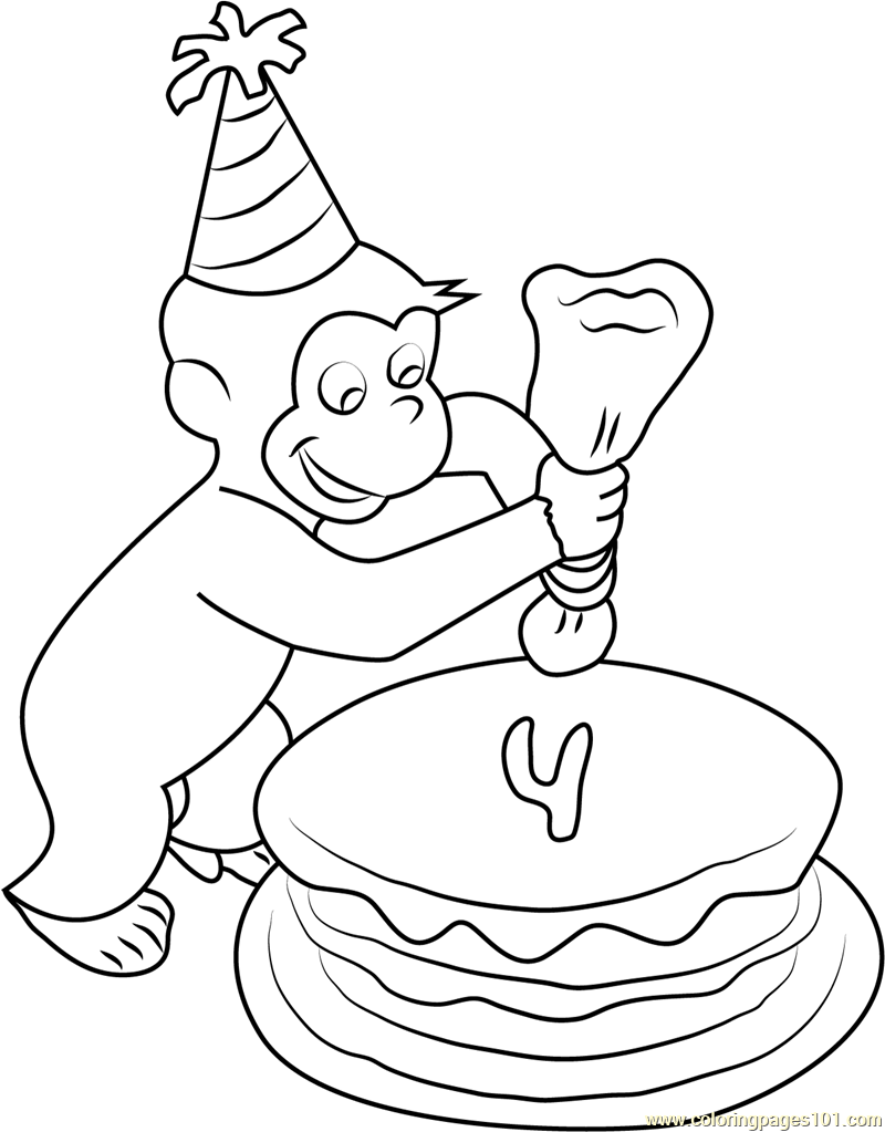Curious George Making Birthday Cake Coloring Page Free