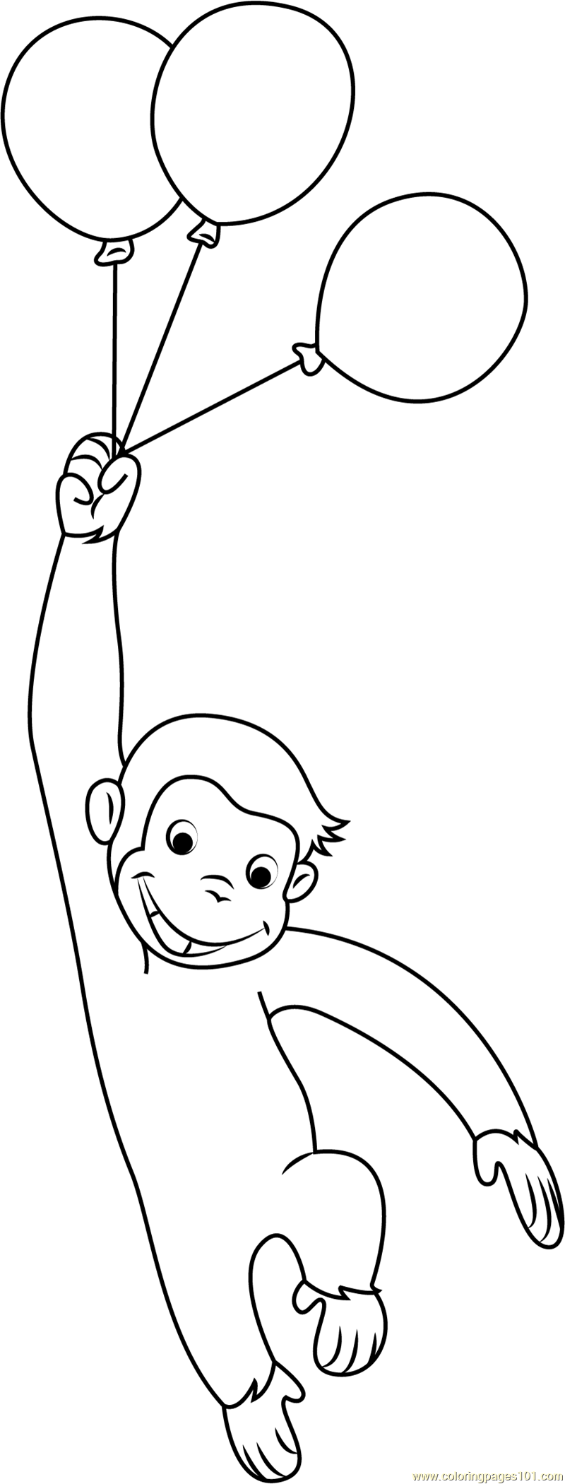 Curious George with Balloons Coloring Page - Free Curious George ...