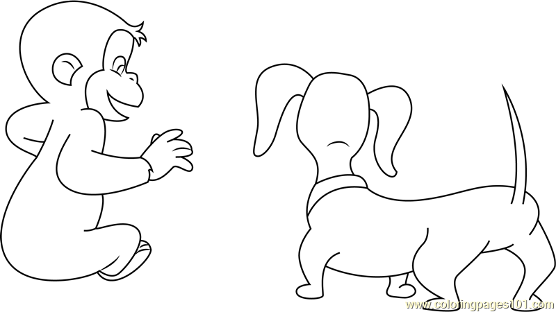 Curious George with Dog Coloring Page - Free Curious George Coloring ...