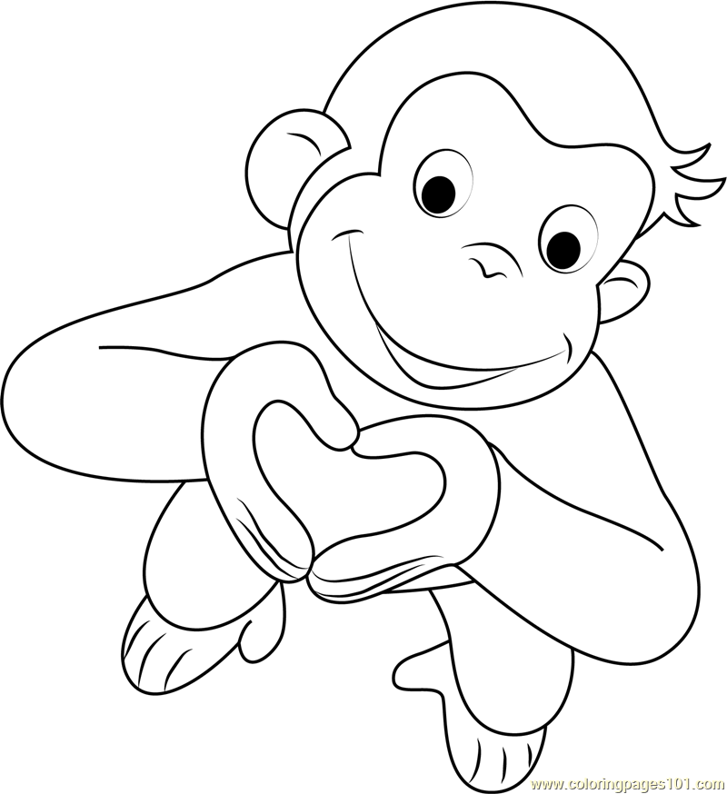 Valentines Day Curious George Coloring Page Free Curious George
