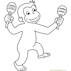 Curious George Dancing Free Coloring Page for Kids