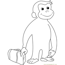 Curious George Going Free Coloring Page for Kids