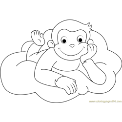 Curious George Going to Sleep Free Coloring Page for Kids