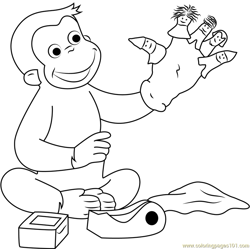 Curious George Playing Puppets Fingers Game Free Coloring Page for Kids