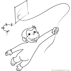 Curious George Playing a Kite Free Coloring Page for Kids