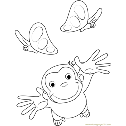 Curious George Playing with Butterfly Free Coloring Page for Kids