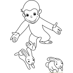 Curious George Playing with Rabbit Free Coloring Page for Kids