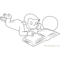 Curious George Reading a Book Free Coloring Page for Kids