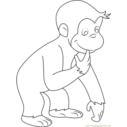 Curious George See Down coloring page