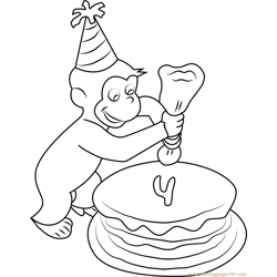 Curious George making Birthday Cake Free Coloring Page for Kids