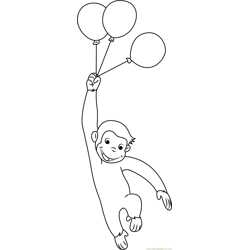 Curious George with Balloons Free Coloring Page for Kids