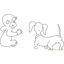 Curious George with Dog Free Coloring Page for Kids