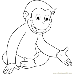 Happy Curious George Free Coloring Page for Kids