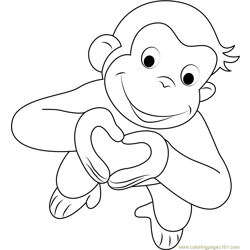 Valentines Day Curious George Free Coloring Page for Kids