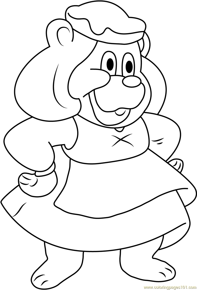 Smiling grammi gummi coloring page free disney 39 s for Gummi bears coloring pages