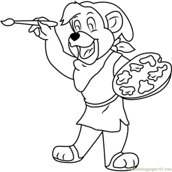 It's Time for Painting Free Coloring Page for Kids