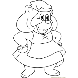 Smiling Grammi Gummi Free Coloring Page for Kids