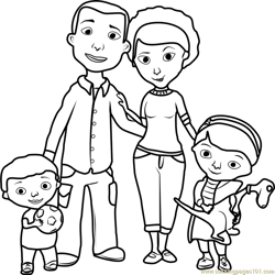 Doc McStuffins Family Free Coloring Page for Kids