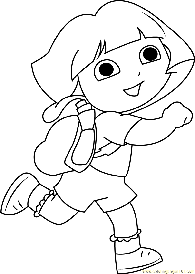 Dora Back To School Coloring Page