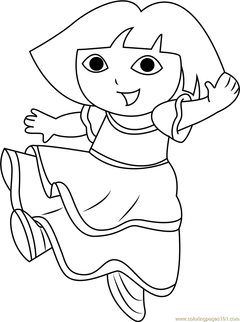 dora dancing coloring page free dora the explorer coloring pages