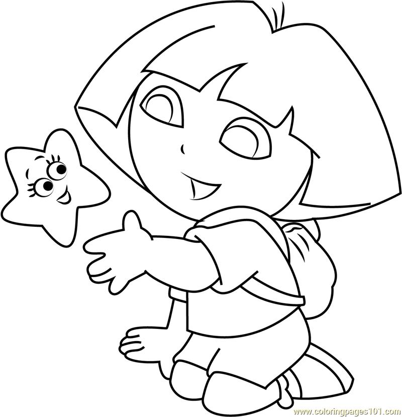 Dora Explorer Stars Coloring Page