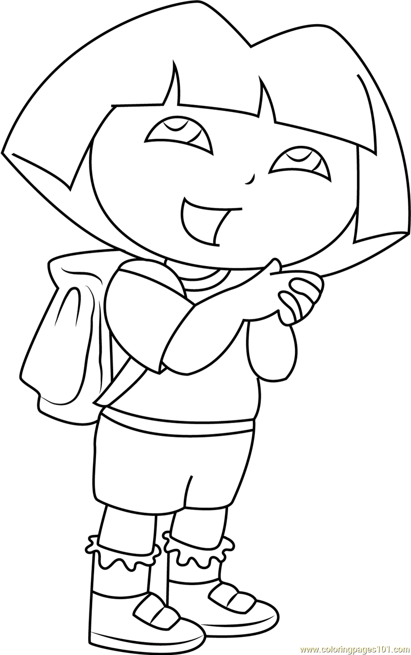 Dora Going to School Coloring Page