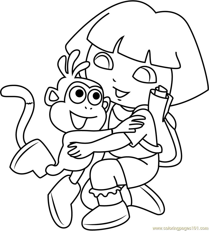Dora Hug Monkey Coloring Page