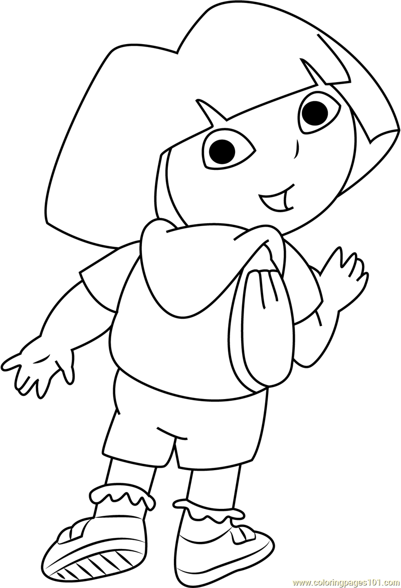 dora looking back coloring page free dora the explorer coloring