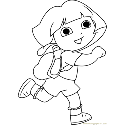 Dora Back to School Free Coloring Page for Kids