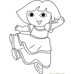 Dora Dancing Free Coloring Page for Kids