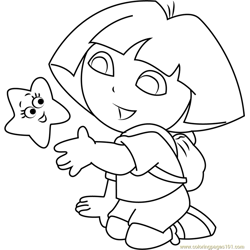 Dora Explorer Stars Free Coloring Page for Kids
