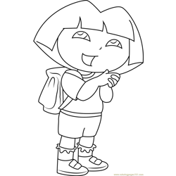 Dora Going to School Free Coloring Page for Kids