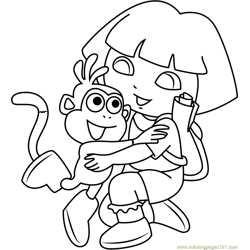 Dora Hug Monkey Free Coloring Page for Kids