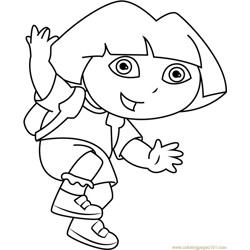 Dora Jumping Free Coloring Page for Kids