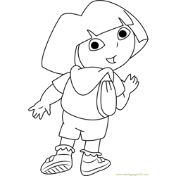 Dora Looking Back Free Coloring Page for Kids