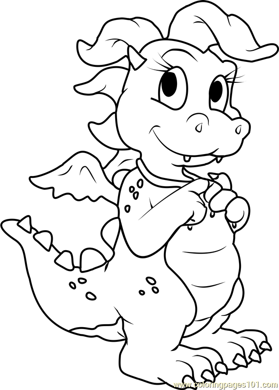 Dragon Tales Cassie Pink Dragon Coloring Page Free