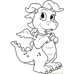 Dragon Tales Cassie Pink Dragon Free Coloring Page for Kids